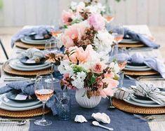 Dinner Party Decorations, Dinner Party Table, Summer Table Decorations, Denim And Lace, Blue Denim, Blue Jean Wedding, Denim Wedding, Blue Bridal, Banquet