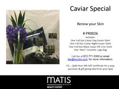 Our Caviar Special is the cure for the winter doldrums! Your clients will love it especially for the cute bag. To order please call Dar at 972.771.0300 or email dar@myrdm.com Cosmetic Logo, Spa Gifts, Caviar, Your Skin, The Cure, Skin Care, Ads, Winter, Winter Time
