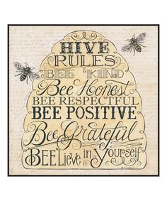 (^o^) Kiddo (^o^) Crafts - 'Hive Rules' Wall Sign