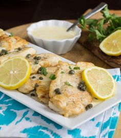 Chicken with Lemon Butter Sauce minus capers and will use almond flour....sounds yummy!
