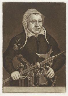 Pieter Anthony Wakkerdak | Portret van Kenau Simonsdochter Hasselaer, Pieter Anthony Wakkerdak, 1740 - 1774 | Kenau Simonsdochter Hasselaer is bewapend en heeft op haar rechterarm een medaillon met de Hollandse Leeuw.