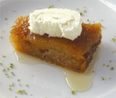 Turkish desert Ekmek Kadayıfı with cream