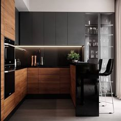 Modern interior House Design Trend for 2020 Small Modern Kitchens, Modern Kitchen Interiors, Modern Kitchen Cabinets, Wooden Kitchen, Loft Kitchen, Kitchen Room Design, Modern Kitchen Design, Home Decor Kitchen, Kitchen Living