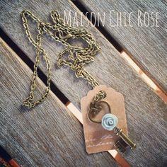 Shabby Pastel Rose Key Necklace