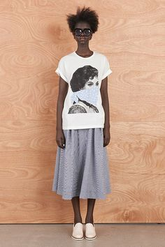 Rolled Cuff Tee With Revolutionary Woman Print by Karen Walker