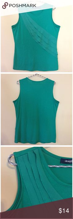 ELOQUII  Limited Kelly Green Ruffle Tank 14/16W ELOQUII  Limited Women's Kelly Green Ruffle Tank Sleeveless -- EUC --  • Size 14/16w • 21.5 inch bust • 28 inch length • cascading ruffles • 70% rayon 30% polyester • Excellent pre-loved condition Eloquii Tops Tank Tops