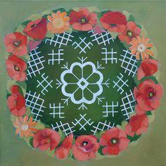 Traditional Latvian folk symbols with floral wreath. Acrylic on canvas, 40x40cm. By Brigita Ektermane.