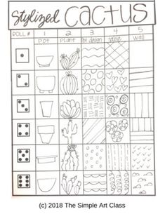 Drawing Games For Kids, Drawing Activities, Art For Kids, Cactus Drawing, Cactus Art, Cactus Plants, Cactus Games, Cactus Decor, Cactus Flower