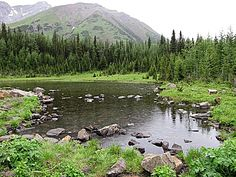 A pond along the trail to Pocaterra Cirque in Kananaskis Country west of Calgary, Alberta, Canada