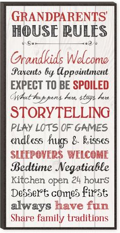 Grandparents House Rules - what a cute idea and great gift!