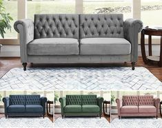 Velvet Sofa Bed Chesterfield Style 3 Seater Green Blue Grey Sofa Button Design · $389.99 Fabric Chesterfield Sofa, Velvet Sofa Bed, Sofa Deals, Beds For Sale, Gray Sofa, Love Seat, Upholstery, Couch, Blue Grey