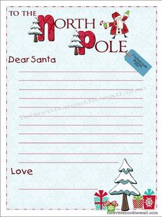 Free Printable Dear Santa Letter Write Notes To Santa