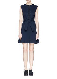 CARVEN - Tie waist zip front dress | Blue Casual Dresses | Womenswear | Lane Crawford - Shop Designer Brands Online
