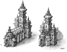 View an image titled 'Buildings Art' in our World of Warcraft: Cataclysm art gallery featuring official character designs, concept art, and promo pictures. Building Drawing, Building Art, Building Design, World Of Warcraft Cataclysm, Building Concept, Prop Design, 3d Design, Environment Design, Environment Concept