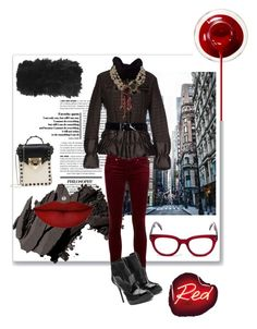 """""""Necklace: Worn Outside the Coat, Why Not?!?"""" by kjlnelson ❤ liked on Polyvore featuring moda, Topshop, Bobbi Brown Cosmetics, Anastasia Beverly Hills, AG Adriano Goldschmied, Alexander McQueen, Mabrun, CÉLINE, Valentino ve Chanel"""