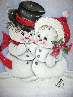 Resultado de imagen para muñecos de nieve pintados en tela
