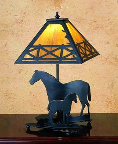 "Mare and Foal 20"" H Table Lamp with Square Shade"