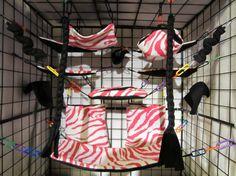 15 pc Sugar Glider Cage Set - Rat - Pink & White Zebra