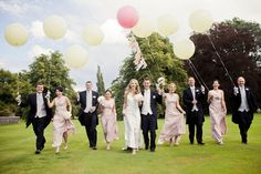 pink white oversized balloons wedding photo