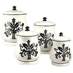 English Style Just Black & White Ceramic 4-piece canister set