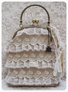 romantic frame purse with linen and lace