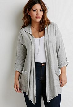 Hooded Open-Front Cardigan | Forever 21 PLUS - 2000053625