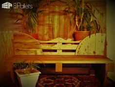 #Outdoors, #PalletBench, #RecyclingWoodPallets I wanted to create a seat from an electricalreel and a full pallet, and I created this Sturdy Decorative Pallet Bench.  Sturdy Decorative Pallet Bench: I made cutouts in the reel sidesto install my pallet and create a flat base. Then, I reused