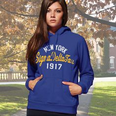 Sigma Delta Tau State and Date Printed Hoody #Greek #Sorority #Clothing #SDT #SigmaDeltaTau #SigDelt #Hoodie #Sweatshirt