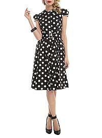 HOTTOPIC.COM - Black And White Polka Dot Cap Sleeve Dress