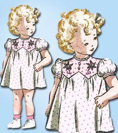 1940s Vintage Anne Adams Sewing Pattern 4939 Uncut Girls Dress & Romper Sz 6 mo #AnneAdams #DressandRomperSet