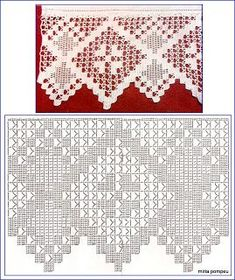 "Photo from album ""Кайма крючком"" on Yandex. Filet Crochet, Crochet Lace Edging, Crochet Motifs, Crochet Borders, Crochet Diagram, Crochet Chart, Thread Crochet, Crochet Trim, Crochet Stitches"