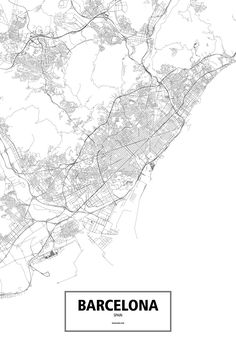 An intricate poster of Barcelona, Spain poster outlined only by its roads in beautiful detail. Available in a several high-quality materials, sizes, and colors with framing options.