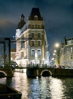 Amsterdam at night time.