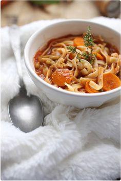 Soupe façon minestrone de flageolet, carottes et tagliatelle