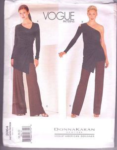 Donna Karan Vogue 2064 Wrap Blouse and Pants Sewing Pattern Vogue Patterns, Costume Patterns, Knit Wrap, Wrap Blouse, Donna Karan, American, Wide Leg Pants, My Style, Fashion Design