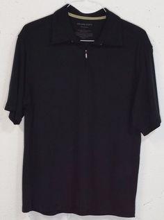 Tommy Bahama Island Soft Mens Black Ribbed Short Sleeve Zipper Polo Shirt Large #TommyBahama #PoloRugby