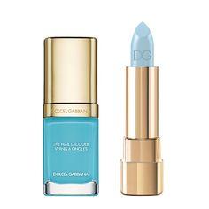 Beauté : Notre sélection shopping de maquillage pop coloré pastel colorblock de l'été - vernis et rougeà lèvres bleu pastel turquoise de Dolce & Gabbana, de la collection Summer Shine http://www.vogue.fr/beaute/shopping/diaporama/make-up-pop/20890/carrousel