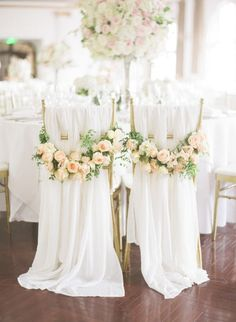 Classic meets elegant floral chair hangings: http://www.stylemepretty.com/destination-weddings/2016/06/28/see-how-this-couple-brought-the-french-glamour-to-shanghai/   Photography: Jada Poon Photography - http://www.jadapoonphotography.com/