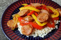 Quick meal consisting of caramelized onions and bell peppers with smoked sausage.