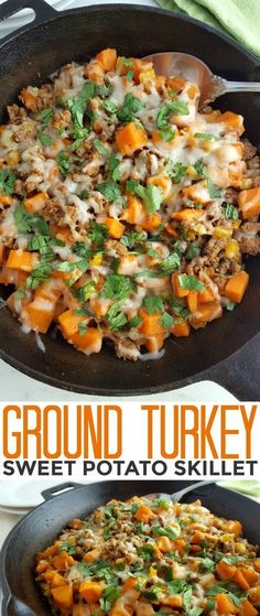 This Ground Turkey Sweet Potato Skillet is a healthy gluten free meal that is fu., This Ground Turkey Sweet Potato Skillet is a healthy gluten free meal that is fu. This Ground Turkey Sweet Potato Skillet is a healthy gluten free m. Zucchini Pommes, Zucchini Fries, Healthy Gluten Free Recipes, Healthy Turkey Recipes, Sausage Recipes, Mexican Recipes, Healthy Ground Chicken Recipes, Detox Recipes, Paleo Turkey Recipes