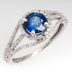 Round Blue Sapphire Diamond Encrusted Ring 14K White Gold