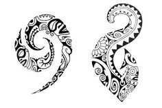 A Polynesian Tattoo Design with symbol eel, fish and tiki.
