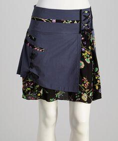 Denim Blue Floral Lace-Up Skirt - Women