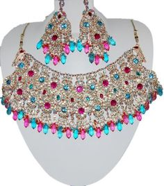 Bollywood Style Indian Imitation Necklace Set / AZBWBR004-LPB  Price : $85.00 http://www.arrascreations.com/Bollywood-Indian-Imitation-Necklace-AZBWBR004-LPB/dp/B007N8CS02