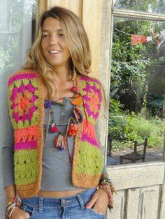 Crochet jacket easy granny squares Ideas for 2019 Crochet Mandala, Crochet Granny, Easy Crochet, Crochet Baby, Knit Crochet, Gilet Crochet, Crochet Jacket, Crochet Cardigan, Crochet Cat Pattern