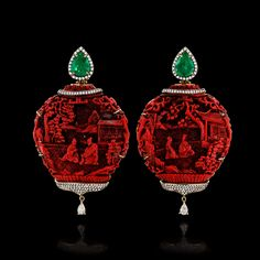 Red Amphor Earrings, emeralds, diamonds and 18ct gold