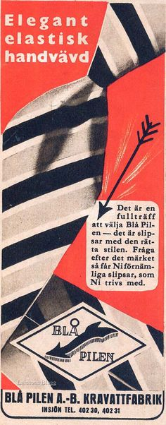 Reklam slipsar från för Blå Pilen, 1940-tal