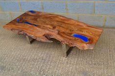Poco Resina -Live Edge Elm handmade coffee table, with steel legs & resin detail