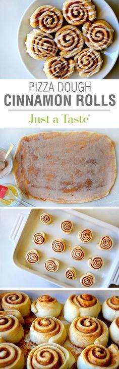 Pizza Dough Cinnamon Rolls #recipe on justataste.com