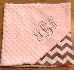 Monogrammed Minky and Chevron Knit Baby by imajeanjellyBean, $39.50